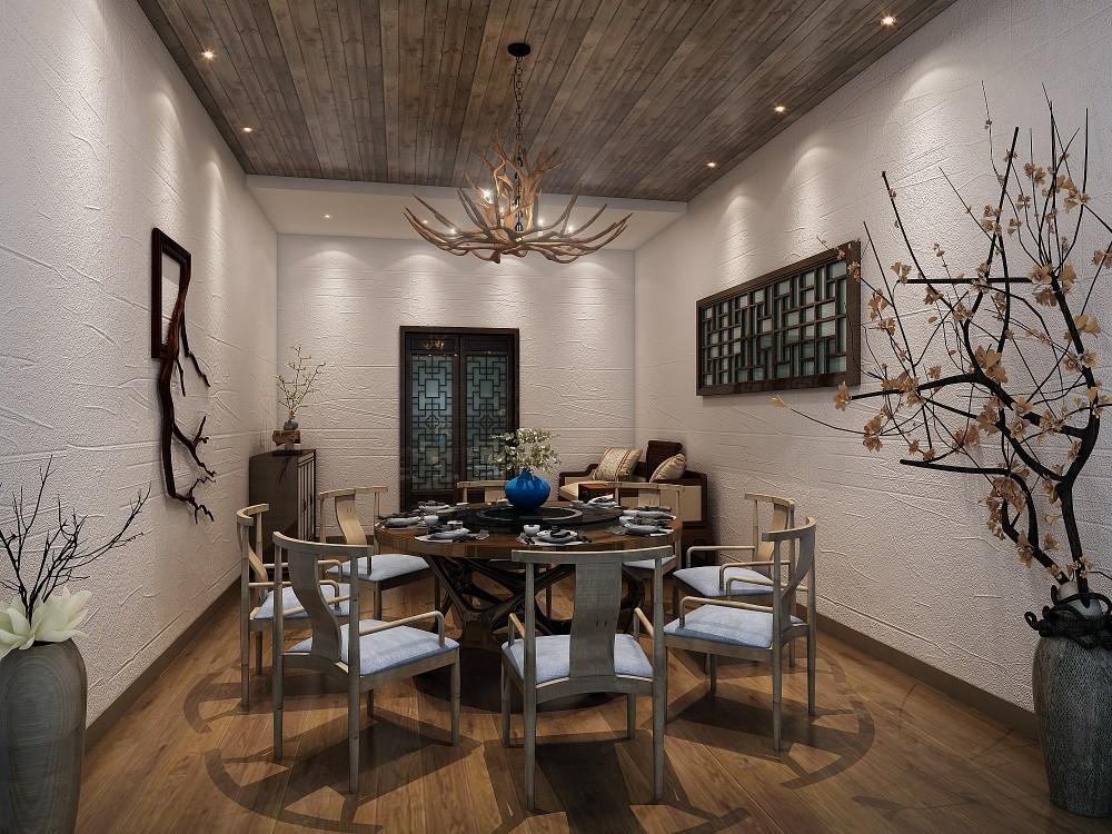 深圳龙岗区128.0平米其他新中式餐厅装修效果图